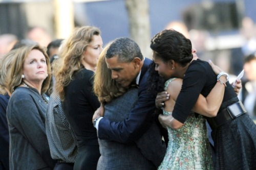 cheatsheet:  President Obama and First Lady Michelle Obama greet mourners at today's 9/11 memorial at Ground Zero.