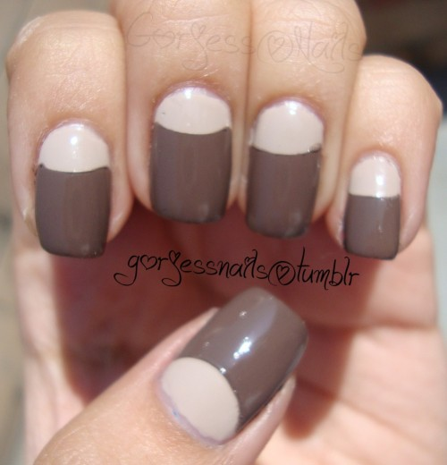 gorjessnails:  Half moons. Inspired by Mel (PrettyNailSwag). Perfect for fall!!.. I've been obsessing over half moons lately.. <3