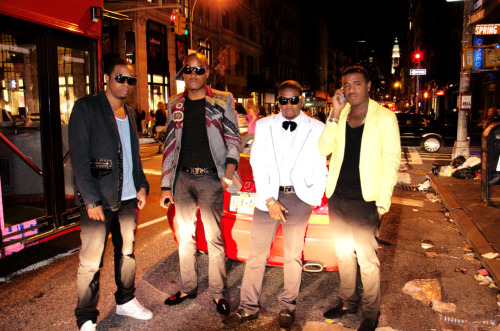 Stop N Stare (from left to right) Me (GQ), Party, Prinze Kevon & KingReally on Fashion's Night Out in Soho, NYC. Photo by Emmanuel Baptiste
