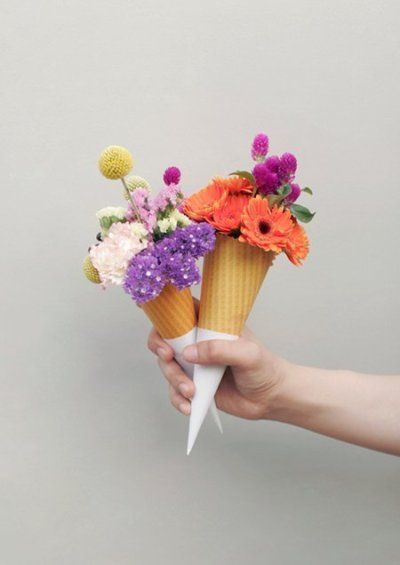 cone full of flowers