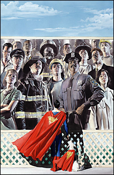 comicsforever:  Superman 9/11 // artwork by Alex Ross (2001) I also never forget the true heroes of the day, and how the selfless acts of hundreds of these brave men and women assured the survival of thousands more.