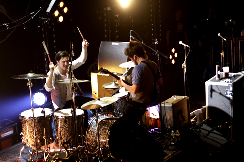 Marcus Mumford (DRUMCUS!) and Winston Marshall of Mumford and Sons perform on the first of two sold out shows at Terminal 5 in New York City on November 15, 2010. Photo © Jen Maler/Retna Ltd.