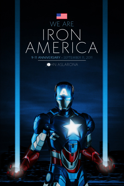 johnaslarona:  IRON AMERICA 9-11 I remember seeing an illustration of Captain America in all despair over  the 9-11 wreckage… His head nodded down resting in his hand in regret  'he was too late to do anything… 10 years later, on this 11th day of September 2011, in my attempt to  render an new image of hope, I've combined Captain America and Iron Man  into one hero that is IRON AMERICA… beaming the memory of The Twin  Towers of 9-11 from his Repulsors… Stronger than ever. Never Forget. Connect with my: Facebook   Tumblr   Twitter   DeviantART   Shadowness Here's an HD fix. Click. For your wallpaper needs.