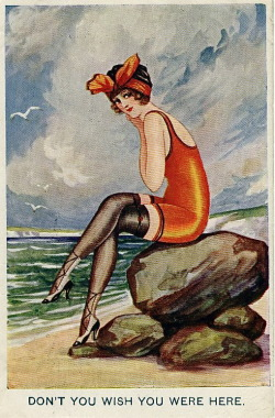 hollyhocksandtulips:  Seaside post card, 1919