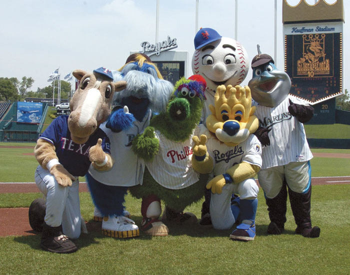 (l-r) Rangers Captain, Raymond, Phillies Phanatic, Mr. Met, Sluggerrr, Billy the Marlin.