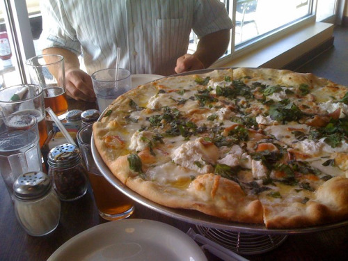 We had a couple of pretty tasty pizzas—the white pizza (pictured) and the bacon pizza (devoured)—at Pizzaiolo Cafe on Fern, off Quaker Lane yesterday.   They were an excellent way to follow up the beer tasting at Port City earlier in the afternoon, and Pizzaiolo has a fairly nice beer selection themselves!