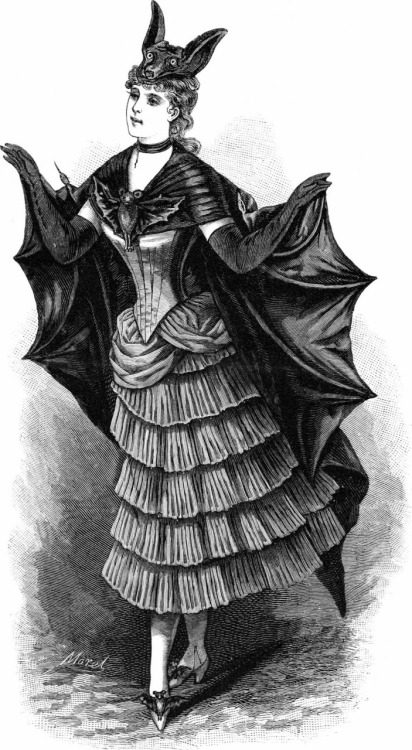 vintagegal:  Engraved French fashion plate, bat costume for fancy-dress ball, 1887  WANT perfect for Halloween and other fancy gothy days