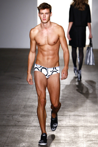 Libertine Dream: If you take a look at Libertine's Spring 2012 collection—an eyesore to say the least—you'll understand why a male model in a bikini brief (look #33) is the only thing worth mentioning from this show.