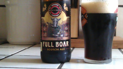 Guest Reviewer: low leafy Devil's Canyon Brewing: Full Boar Style: Scotch Ale / Wee HeavyABV: 7.4%IBU: 12Grade: A+ (ed: must be good, i've never had!)Tastes like making out with a drunk Scottish lassey after she smoked a cigar soaked in Laphroaig and finished with a bitter dark chocolate bar.  The unique flavors come from actual blending of scotch, Willamette hops, and a variety of malts.  I paired this with a Cochinita Pibil sandwich. Highly Recommended!!Tasting Notes: Adidas-Sweatsuits, Laphroaig, Ibarra, Caramel Apple, Dead Clown