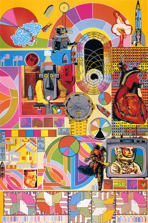 "screenprint by Eduardo Paolozzi via { Sci-Fi-O-Rama } { The Local-Global Flip }, or, ""The Lanier Effect""A Conversation with Jaron Lanier [8.29.11] A bit silly to post a thing like this, here, but… it needs to be thought about, re-posted, figured out.  People have to understand that there's no such thing as ""free,"" that  when they buy into a system in which they upload their videos to YouTube  without expecting to make anything (unless they're very lucky to become  a token Horatio Alger story) at the end of the day, or when they  contribute to services like Google+, or Facebook, or other social  networks, what's happening is they're working for the benefit of someone  else's fortune by creating data that can be used to grant or deny  access based on pay to these third parties, the tawdry third parties… … There's a sense of, if you're adding to the network, do you expect  anything back from it? And since we've been hypnotized in the last  eleven or twelve years into thinking that we shouldn't expect anything  for what we do with our hearts or our minds online, we think that our  own contributions aren't worth money… … …we have this idea that we put all this stuff out there and what we get  back are intangible or abstract benefits of reputation, or ego-boosting. Since we're used to that bargain, we're impoverished compared to the  world that could have been and should have been when the Internet was  initially conceived. The world that would create a strengthened middle  class through what people do, by monetizing more and more instead of  less and less."