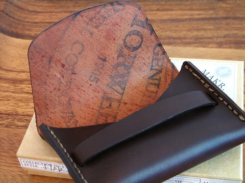 This is very cool, love the leather company stamp! anchordivision:  Thats Horween stamp was perfect on this MAKR wallet. If i was ever so lucky to get one like this.