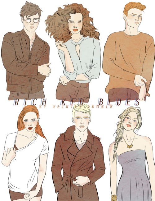 veinte9:  Rich Kid Blues ||| This is my version of the HP series. It's like Gossip Girl meets HBO then has a little bit of a fling with Dexter….  left2right: Harry, Hermione, Ron, Ginny, Draco, Luna (yeah that's a Lykke Li song, btw) (duh)