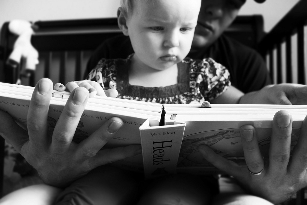 Bailey Girl.reading with daddy  Object - Hands Principles of Photography
