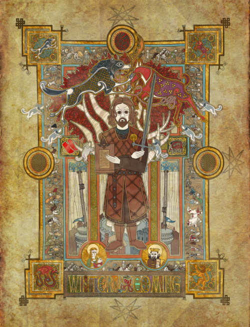 Beautiful artwork, inspired by the Book of Kells. http://mudron.bigcartel.com/product/winter-is-coming