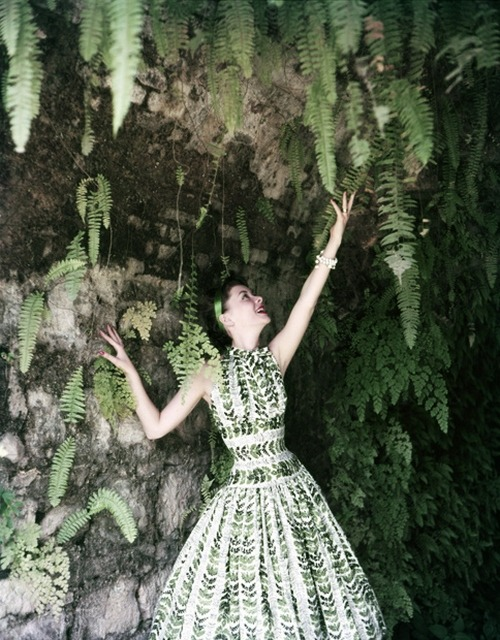 theniftyfifties:  Model in a green fern dress, 1950s.  Photo by Tom Palumbo.