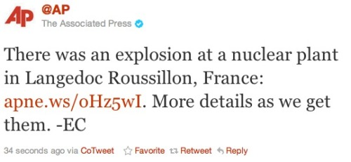 French nuclear explosion: Exactly what we wanted to wake up to. Here's the AP's story. More details as we get them, guys.