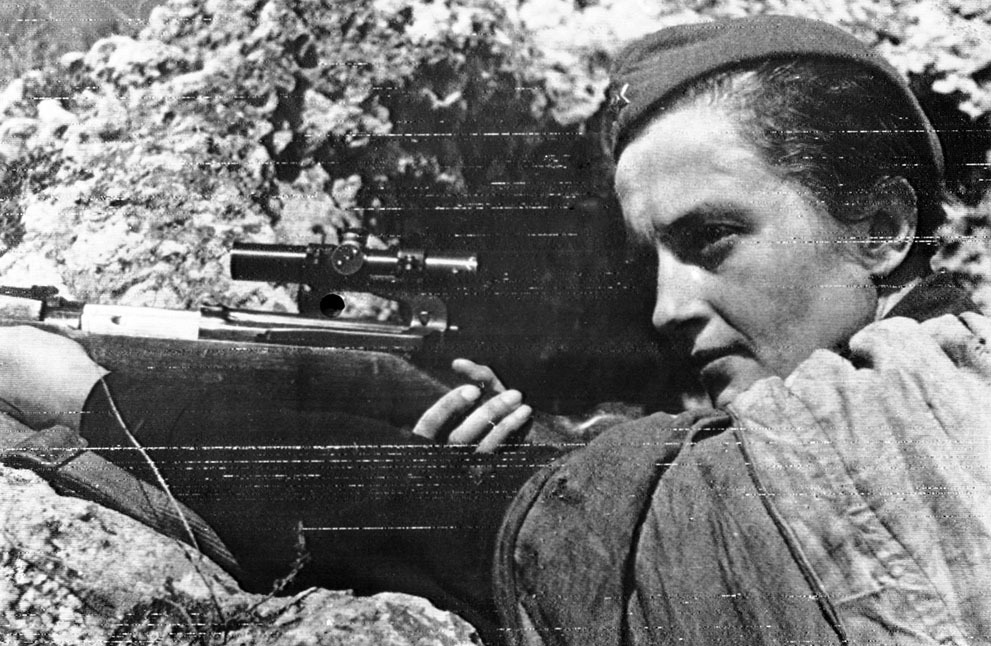 World War II: Women at War  For the nations who were deeply involved in World War II, the war effort was total, with women volunteering in huge numbers alongside men and filling traditionally male positions at home, in industry, and the military. Women took both active and supporting positions in factories, government organizations, military auxiliaries, resistance groups and more. While relatively few women were at the front lines as combatants, many found themselves the victims of bombing campaigns and invading armies. By the end of the war, more than 2 million women worked in war industries, hundreds of thousands volunteered as nurses or members of home defense units, or became full-time members of the military. In the Soviet Union alone, some 800,000 women served alongside men in army units during the war. Collected here are images of women involved directly in the events of World War II, and some of what they experienced and endured Above: Symbolic of the defense of Sevastopol, Crimea, is this Russian girl sniper, Lyudmila Pavlichenko, who, by the end of the war, had killed a confrimed 309 Germans — the most successful female sniper in history. (AP Photo)  See more incredible photos at In Focus