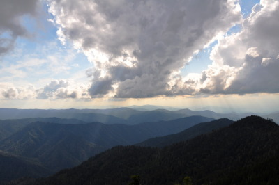 clouds and clifftops on leconte the smokies, tennessee