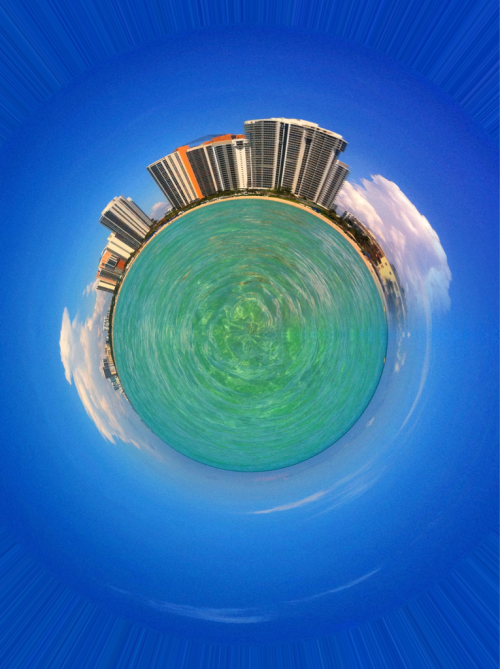 Been a little tiny planet app crazy lately. This picture is from the waters at Sunny Isle Beach in Miami.