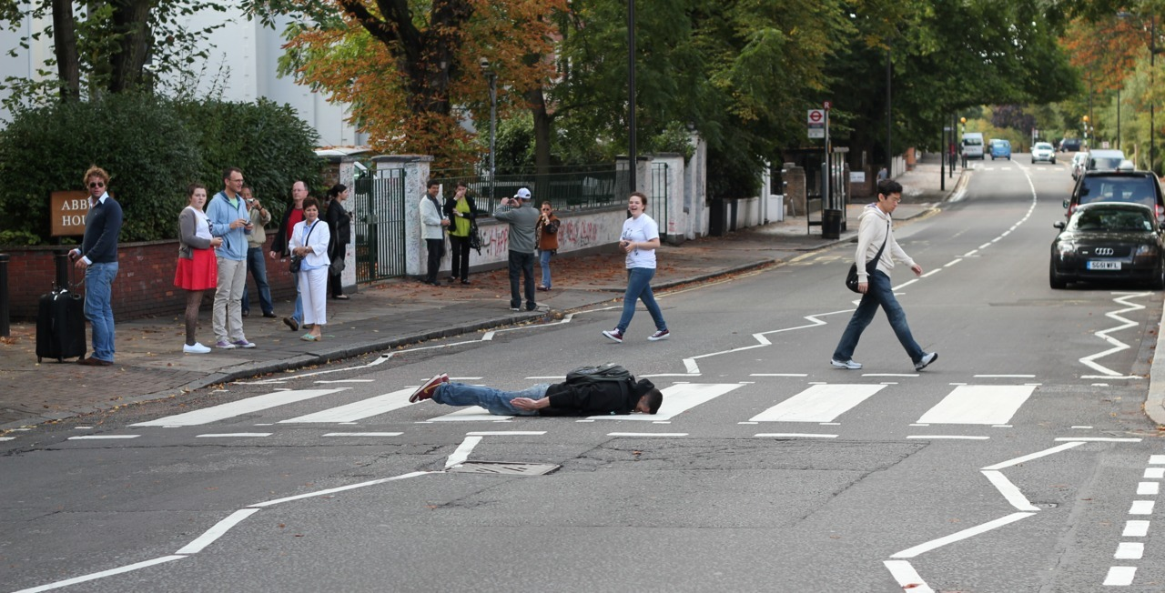 notrickshot:  abbey road plank. my first and only plank.  shane planked as well. great form