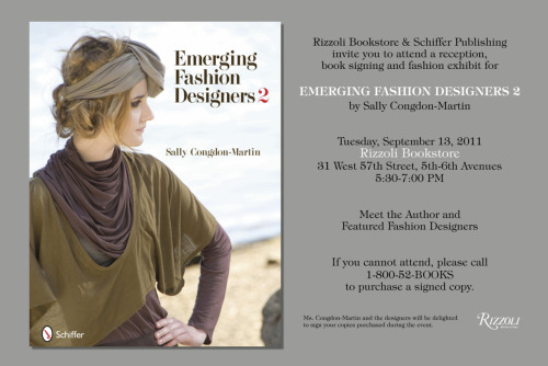 TOMORROW! Emerging Fashion Designers 2 book signing at Rizzoli book store in NYC! Very excited to meet everyone!