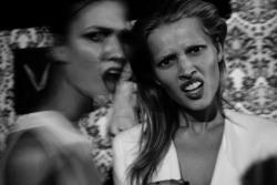 milkstudios:  Models Gone Wild!   Karlie Kloss and Toni Garnn at the Alexander Wang after party. Photo by: Ruvan