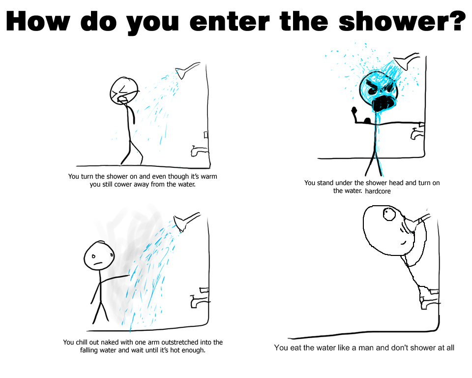 world-shaker:  How do you enter the shower?