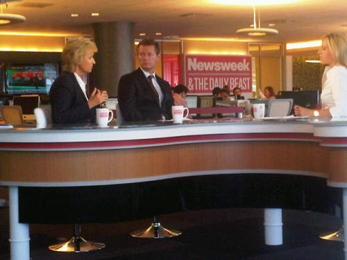 "CNN Money's Poppy Harlow stops by the NewsBeast to interview our bosses about the three-year anniversary of The Daily Beast (and the renewal of Newsweek—10 months since our ""wedding"" was announced)."