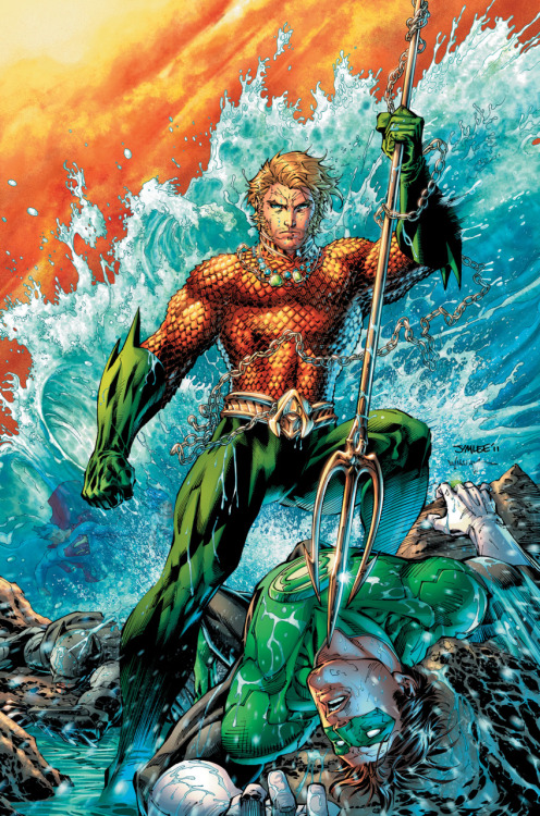 comicartappreciation:  Justice League #4 // Jim Lee  Oh look it's Aquaman on the cover of Justice League #4. And it looks like Bats has gone down by Trident. Wonder how the Bat forums are going to take that?