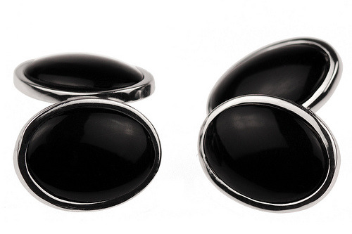 Silver onyx cuff links $55 Slightly tweaked design. The onyx part used to be flat; now they have a small protruding dome, giving them a more three-dimensional appearance.