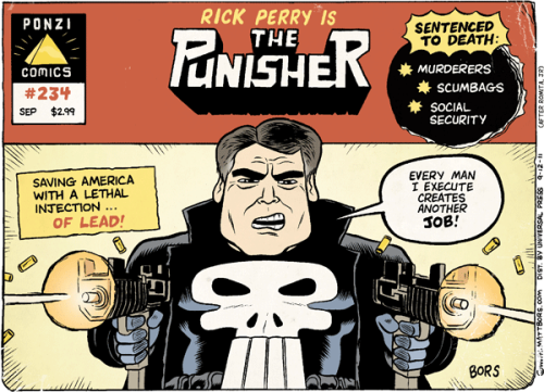 timetruthhumor:  Republican Rick Perry in comic book form, is pretty much the same as Rick Perry in non-comic book form.