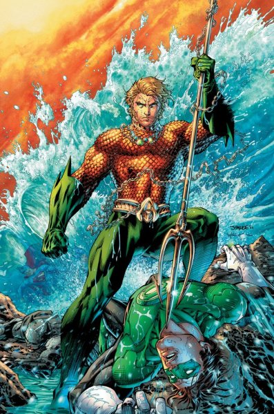Aquaman bad-ass in Justice League #4 cover. And again, Hal Jordan  is the punching bag of the team