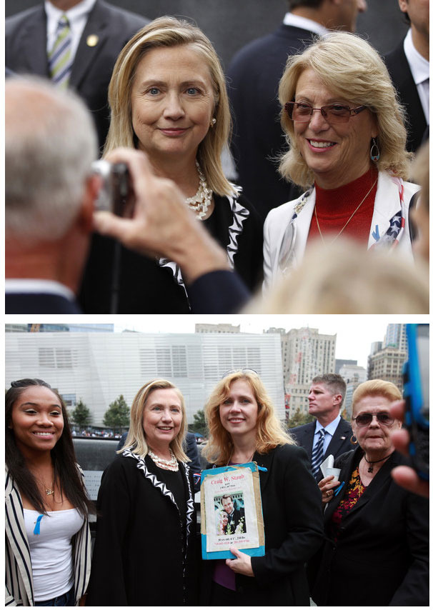 "Bag's Take-Away:  The ""Most Different"" News Photos from 9/11 Commemoration. #2: ""Grief Meets Political Celebrity""  Of the 1000 or so newswire photos of the 9/11 memorial ceremony I looked at, almost every one is profoundly somber, the grief of the families searing through everything. That's why I thought these two photos were especially unusual. I didn't see this in the photos of Obama or Bush with the families (and I know, both personally and professionally, how transient grief is), but in these two shots, at least, it was jarring to see how, in the presence of Mrs. Clinton, she wasn't catering to them, but rather, these 9/11 family members suddenly shifted into fans.   Sad to think, but in 2011 America, does that count for empathy, too?  Also see: The ""Most Different"" News Photos from 9/11 Commemoration. #1: ""Salam""     (photos: Pool/Getty Images caption:U.S. Secretary of State Hillary Rodham Clinton poses for a photograph prior to the tenth anniversary ceremonies of the September 11, 2001 terrorist attacks at the World Trade Center site September 11, 2011 in New York City. The nation is commemorating the tenth anniversary of the terrorist attacks which resulted in the deaths of nearly 3,000 people after two hijacked planes crashed into the World Trade Center, one into the Pentagon in Arlington, Virginia and one crash landed in Shanksville, Pennsylvania)  ————— Topping LIFE.com's 2011 list of Best Photo Blogs, follow us at: BagNewsNotes; BAG Twitter; BAG Facebook; Bag by Email."