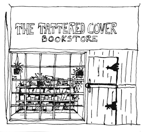 tatteredcover:  A drawing of the original Tattered Cover by early staffer, Carolyn Herter, who went on to become a heavy-weight in the publishing industry, as vice-president/director of national accounts for Scribners/Atheneum; as vice-president/director of illustrated book publishing at Simon & Schuster; and as publishing director for Chronicle Books in San Francisco. Finally, she founded Herter Studios, a creative development & packaging consultants firm. We still miss her!