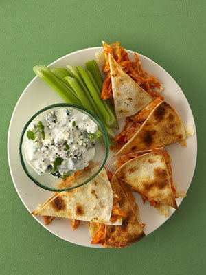 Buffalo Chicken Quesadillas with Monterey and Bleu Cheeses Recipe
