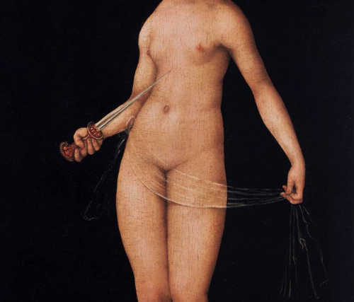 Lucretia (detail), by Lucas Cranach the Elder, 1533