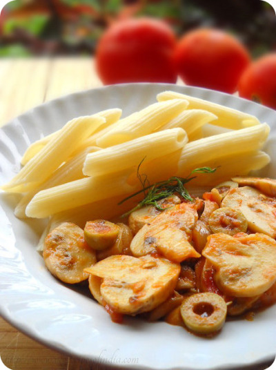 penne with tomato mushroom and olives Recipe