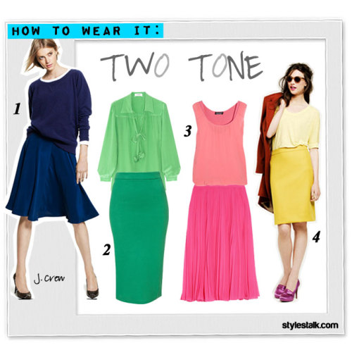 HOW TO WEAR IT:  Two Tone We're guessing it's safe to assume that by now all of us have seen a number of gorgeous street style examples of fun, summer appropriate two tone outfits.  Always ahead of the curve, powerhouse brand J.Crew showed off several spins on the technicolor monotone look for Fall in their catalog, our personal favorites above in rich blues and yellows. But to savor the last few weeks of warmth and sun, we couldn't resist taking a stab at recreating a few other interesting color combinations of our own — and if we do say so ourselves, we think these pops of neon green and pink are the perfect way to exit the season with a bang.  What's great about this trend is that a mix-and-match approach to any color with one dark and one light piece usually results in something visually striking and cool. J. Crew cashmere Isabel sweatshirt & liquid silk skirt Sonia by Sonia Rykiel silk blouse & Topshop jersey pencil skirt Sonia by Sonia Rykiel silk-crepe tank & Halston Heritage georgette skirt J. Crew dolman-sleeve tee & No. 2 pencil skirt in double-serge wool