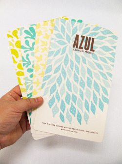 Azul Menus (by Lauri Johnston)