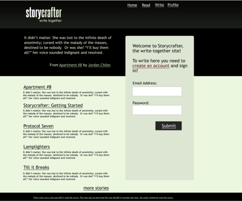 Working version of the 2.0 storycrafter homepage. Notice the simplified design, little to no graphics, and the focus on quality story content. This is a screenshot mockup made in photoshop.