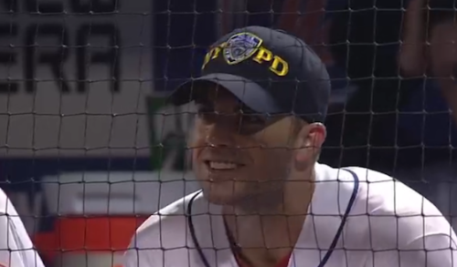 MLB prohibited the Mets from wearing NYPD, FDNY and PAPD hats during yesterday's game in memory of the 9/11 attacks. But, David Wright changed his hats in the dugout during the game.  Just another reason to love David Wright.