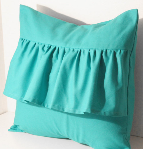 Bright teal cushion cover with ruffle detail, available at my etsy shop