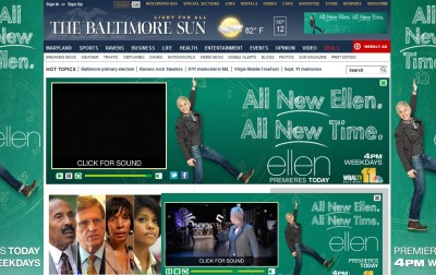 Baltimore Sun homepage right now