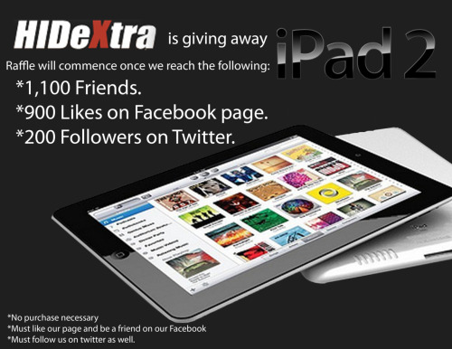 IPAD RAFFLE!!!!!! Spread the word! Just LIKE our FAN PAGE & FOLLOW us on TWITTER!! HURRY! :D