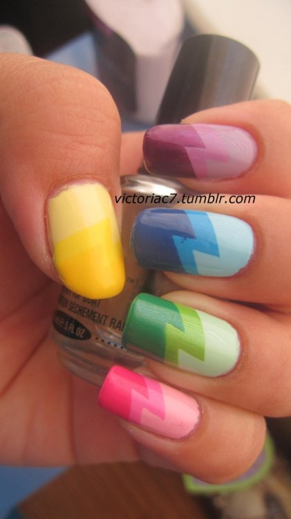 victoriac7:  I just love the lightning bolt mani; I can't stop doing it! Lol.  I know you can't really tell the difference in the yellows on my thumb, but you can definitely see it better in person.  Inspired by Nailside and Mad Manis. Colors used:  Pinky: Sally Hansen Insta-Dri - Pink Blink, Sally Hansen X-treme Wear - Bubblegum Pink, Essie - Funny Face Ring: Sally Hansen X-treme Wear - Mint Sorbet, China Glaze - Tree Hugger, Essie - Pretty Edgy Middle: Sally Hansen Insta-Dri - Blue Away, Zoya - Robyn, Essie - Mesmerize Index: Essence - No More Drama, Sally Hansen Insta-Dri - Lively Lilac, Sally Hansen Insta-Dri - Pronto Purple Thumb: Sinful Colors - Unicorn, Sally Hansen X-treme Wear - Mellow Yellow, Sally Hansen Insta-Dri - Lightening