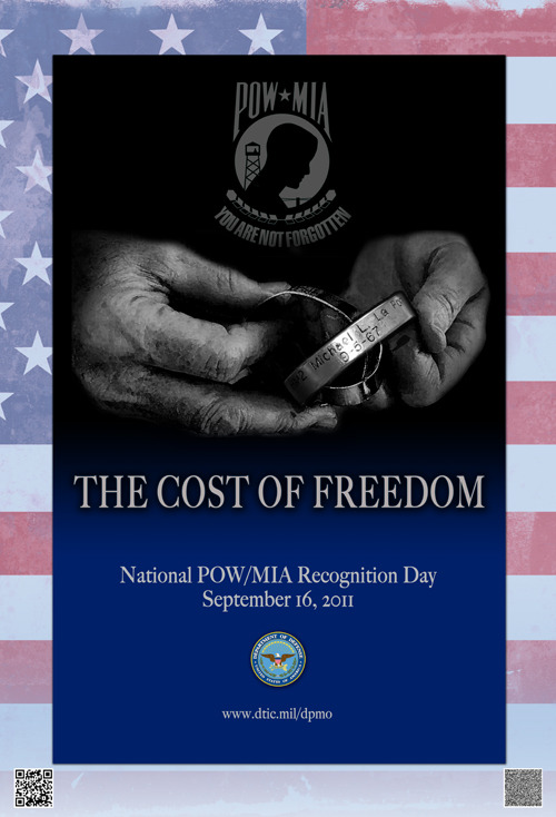 Image description: Today is National POW/MIA Recognition Day, a day that honors the men and women who have sacrificed so much for their country. This observance is one of six days throughout the year that Congress mandates the flying of the National League of Families' POW/MIA flag. The flag is to be flown at major military installations, national                          cemeteries, post offices, war memorials and the White House. Photo courtesy of the Defense Prisoner of War/Missing Personnel Office