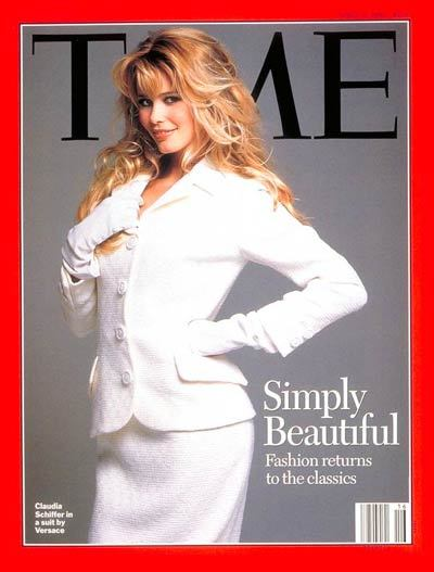 timemagazine:  Claudia Schiffer in Versace. April 17, 1995