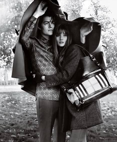 intothewordless:   Sam Riley and Rose Huntington-Whiteley for Burberry