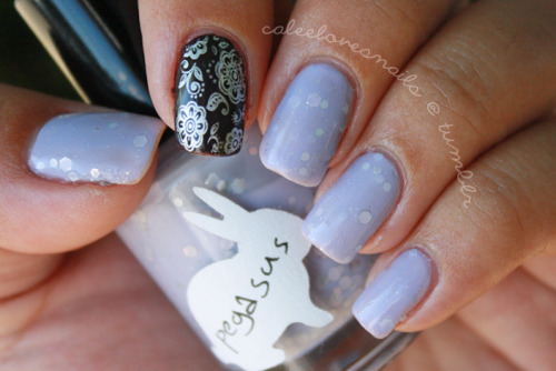Another one from Nikole's (Nailing It) franken collection! Pegasus is a gorgeous lilac / grey & it's perfect. Just perfect. And on my index I have OPI - I Brake for Manicures is a deep, smokey purple (it's looks black in the photo) & it's be-a-utiful in person. Sorry for not updating sooner, I just started school again & I'm full time so I am SO busy especially adding on with work & the kids! I promise I'll keep updating, just probably not as often, but I will try at least once a week. :) Thanks to all my wonderful followers for sticking by my blog! <3