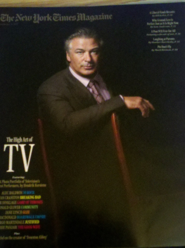Alec Baldwin's New York Times Magazine cover Is it just me, or does his pose scream for a cigarette? Not trying to corrupt the kids, but…